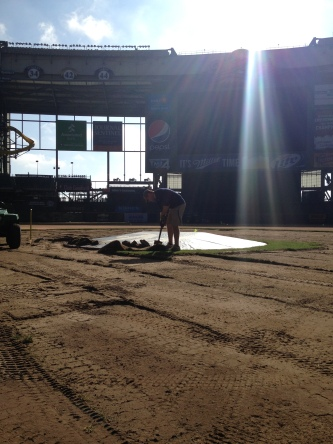 Brewers Director of Grounds, Justin Scott, is already hard at work for next season--replacing the field at Miller Park.