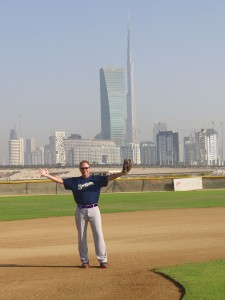 "Here I am at Dubai's ""Field of Dreams"" with the Burj Khalifa (world's tallest building) in the background."