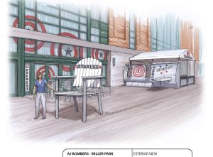 And here's what the AJ Bombers space will look like outside of the ballpark. Note that they are bringing their signature large chairs!