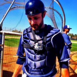 Jonathan Lucroy straps on a GoPro camera before BP.