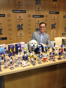 Hank sits with Brewers COO Rick Schlesinger at a media event this afternoon.
