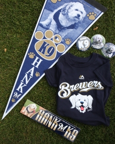 Assorted additional Hank gear like pennants, locker name plates, buttons and kids gear will also be available.