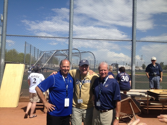 Jerry Augustine and Ken sanders pose with George House, a first-time member of the Brewers Road Crew.
