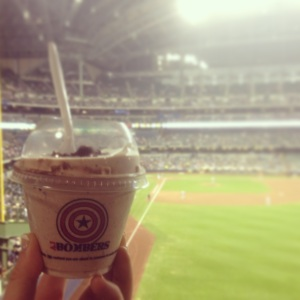 The Chili Chococate Brownie Custard is available during the San Diego Padres Series.