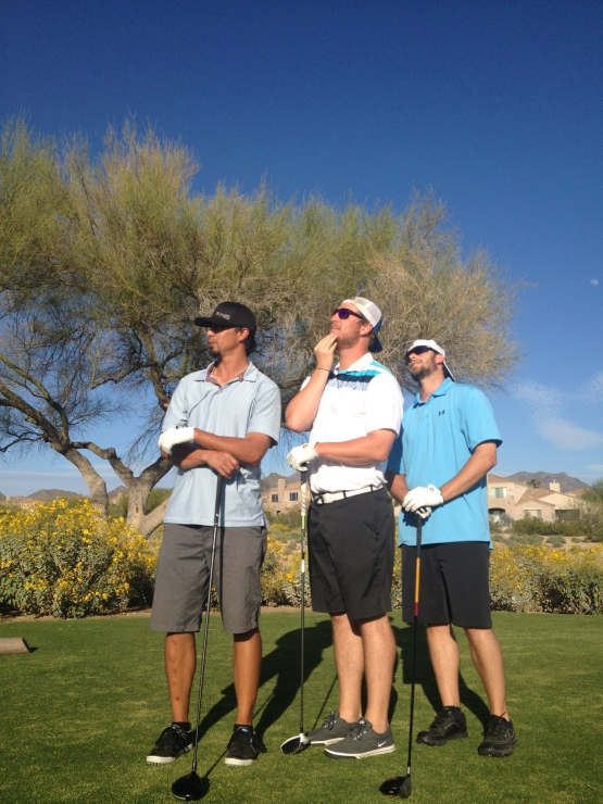 "I take that back. THIS is my favorite shot of the day. Kyle Lohse, Will Smith and Tyler Thornburg, having fun on the course--I was trying to take an ""epic' photo of them.av"