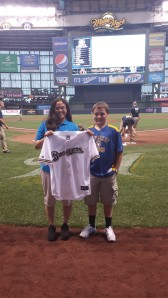 Ethan Glaus was honored with a Brewers jersey before tonight's game.
