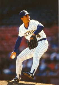 "Mark Ciardi, pitching for the Crew in 1987. Those weren't ""retro"" uniforms back then."