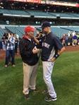 Coach Ryan chats with Derek Jeter
