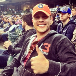 Looking good in your orange DNR Days Brewers cap, Dustin!