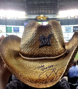 """Stay country!"" says this Dustin Lynch signed hat. You can win it if you follow @Brewers on Twitter today!"