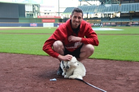 AZ Diamondbacks pitcher Brandon McCarthy got to meet Hank before today's game. Brandon even brought a toy for Hank.