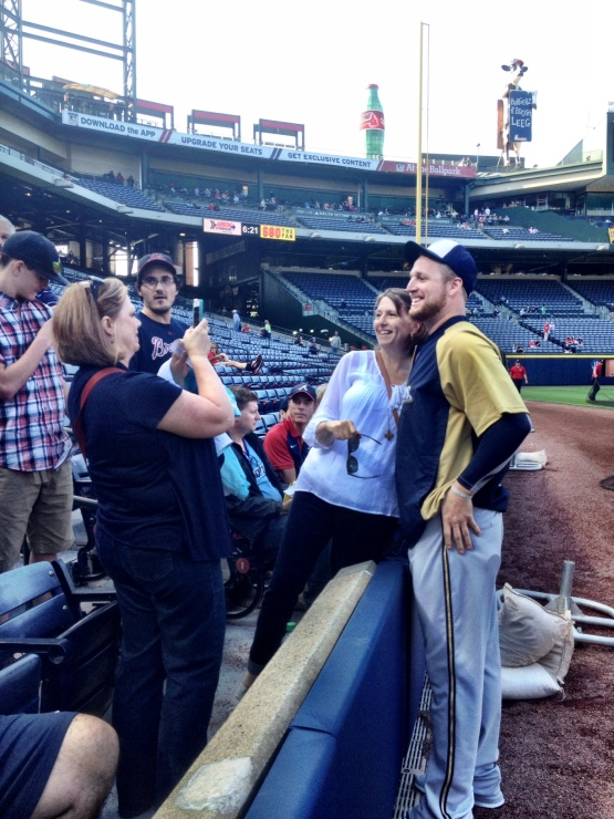 Will Smith poses for a photo with his mom, Kay, at Turner Field.