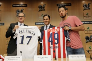 Brewers-Chivas jersey exchange!  Photo Courtesy: Darren Hauck/Milwaukee Brewers