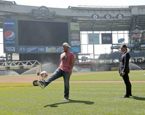 Yovani tries his foot at soccer. Photo Courtesy: Darren Hauck/Milwaukee Brewers