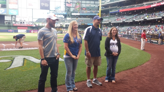 L-R: Samuel Huber, Tracy Tate, Eric Vander Loop and Tara Sonnentag (Target) Our All-Star Teacher Finalists were recognized on the field prior to the Brewers vs. Reds game on Saturday, June 14.