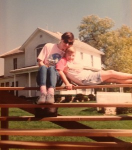 Cait and her mom at the Field of Dreams in 1992.