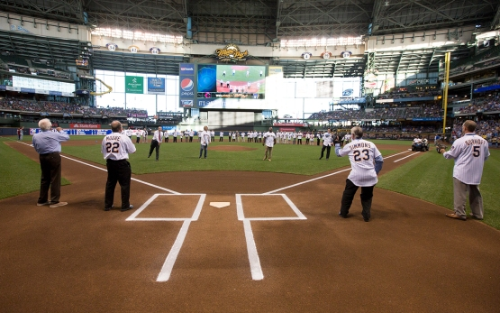 As part of the pregame ceremony, Bud Selig, Robin Yount, Greg Vaughn and Craig Counsell threw ceremonial pitches to Bob Uecker, Charlie Moore, Ted Simmons and B.J. Surhoff.