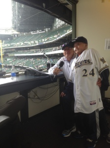 Zach Sprader visited with Bob Uecker and several Brewers players during his visit to Miller Park.