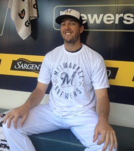 Brewers pitcher Brandon Kintzler models the next Brewers Friday tee.