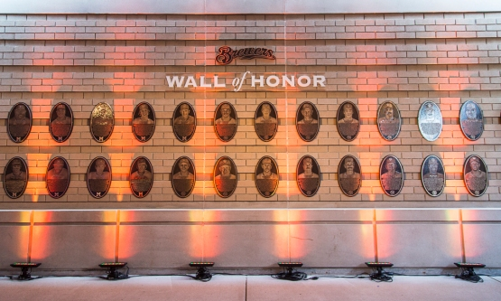 The Brewers Wall of Honor, unveiled 6/13/14 at Miller Park. Photo courtesy of Sara Stathas/Milwaukee Brewers Baseball Club.