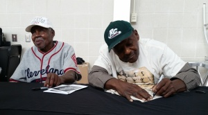 Tonight's honorees (L-Toles, R-Weston) signed autographs at a special tailgate reception.