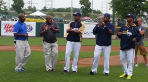 Thad McGrew, Brewers Manager of Emerging Markets, introduces Davey Nelson, Jeremy Jeffress, Rickie Weeks and Khris Davis, who also made a special appearance at the pre-game reception.