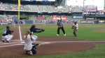 Our honorees threw out ceremonial first pitches tonight.