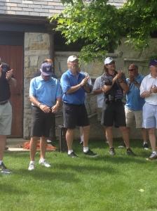 Ken Sanders, Gorman Thomas, Robin Yount and Jim Gantner clap during introductions.