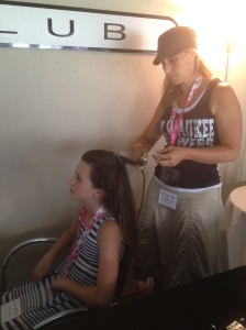 Guests could get their hair styled with Brewers accessories at the event.