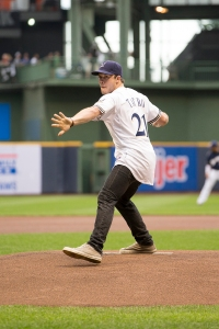 Jimmy Tatro throws out the ceremonial first pitch at the Brewers vs. Mets game on July 25, 2014.  Photo: Scott Paulus/Milwaukee Brewers Baseball Club