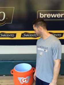 Ryan Braun prepares for the Ice Bucket Challenge.