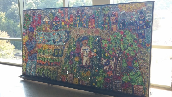 The Growing Power Mosaic Mural is on display at the top of the first-base side escalator on the Loge Level at Miller Park.