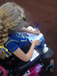 Reagan works on a special drawing for Jonathan Lucroy.