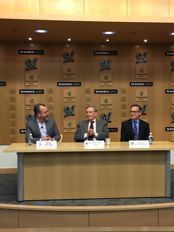 L-R: Brad Shelton, Commissioner Selig and Rick Schlesinger at today's press conference.