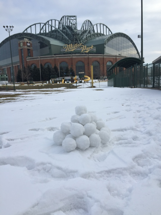 All in a days work: Helping make the perfect snowballs for the #BrewersSnowballFight.