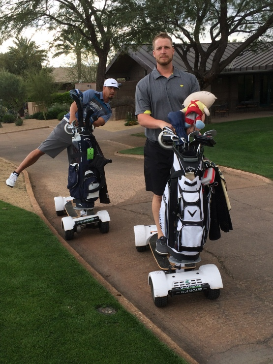 Kyle Lohse and Will Smith quickly picked up on how to maneuver the Golfboards.