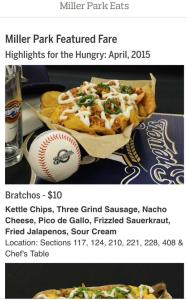 The new Miller Park Eats tab includes featured fare by month.