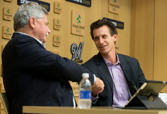"""He has a lot of passion, great energy and an edge for preparation."" - Doug Melvin on Craig Counsell, the new Brewers Manager  (Photo courtesy of Scott Paulus/Milwaukee Brewers)"