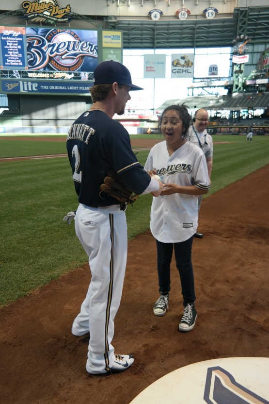 """You did a lot better than I thought you would,"" Scooter jokingly told Kayla after her first pitch."