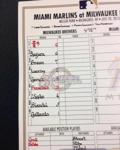 A lineup from 2013 with lead-off hitter Nori Aoki's name written in Japanese characters.