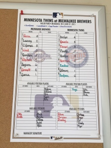 The lineup card from Lohse's