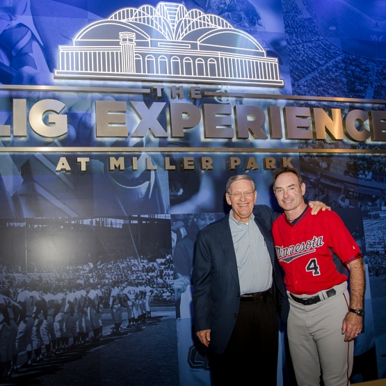 Bud Selig and Paul Molitor pose outside of the Selig Experience, located in the left-field corner on the Loge Level at Miller Park. (Photo via Sara Stathas/Milwaukee Brewers)