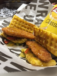 July 6-8, Brewers vs. Braves: Chicken, waffles, poblano peach syrup, sautéed onions and peppers.   Served with chips.