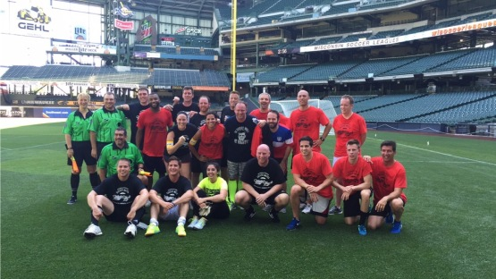The media had a chance to test out the soccer pitch at Miller park this afternoon.