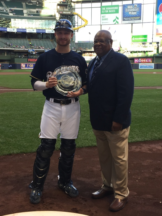 Lucroy received the 2015 Heart & Hustle Award tonight during a pregame ceremony.