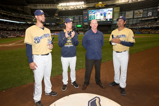 Brewers Manager Craig Counsell was on hand to present the Minor League Awards.