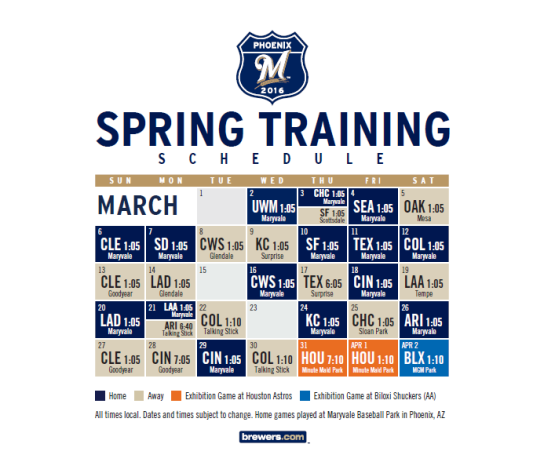 Brewers Spring Training 2016