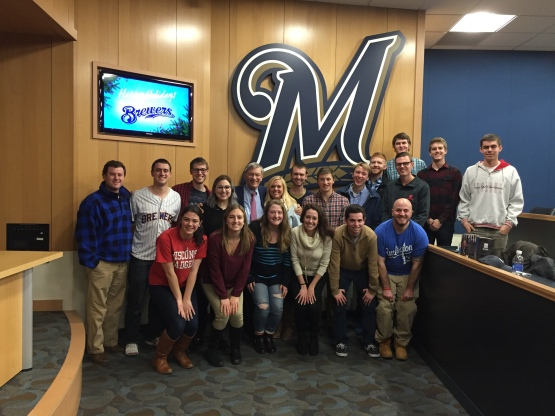 Commissioner Emeritus Selig's Baseball and Society Since World War II class visited Miller Park on Wednesday, December 15, 2015.