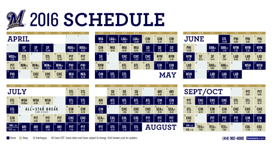 2016 Brewers Schedule