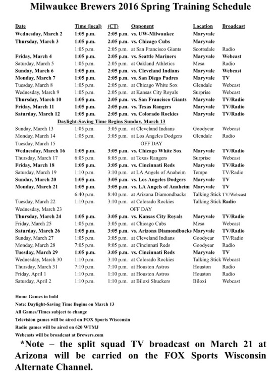 2016 Brewers Spring Training Broadcast Schedule